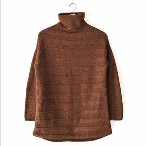 Simons ***Oversized Turtleneck Sweater XS Brown